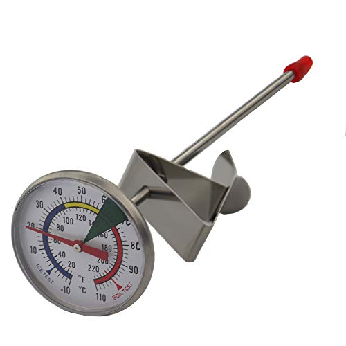 Frothy Milk Thermometer With 175 mm Stainless Steel Probe and Clip Barista Coffee