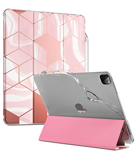 Popshine Marble Lite Series Designed for Apple iPad Pro 12.9 2020 & 2018 Case, Smart Cover with Pencil Holder, Flexible Soft Clear TPU Back, Slim Fit Trifold Stand Folio Front, Liquid Marble Pink