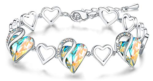 "Leafael Infinity Love Silvertone with Rainbow Opal White Crystal April Birthstone Women's Gifts Heart Bracelet, 7"" with 2"" Extender"