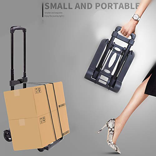 Luggage Cart Folding Compact Lightweight Utility Cart for Luggage/Personal/Travel/Auto/Moving and Office Use Portable Fold Up Hand Cart