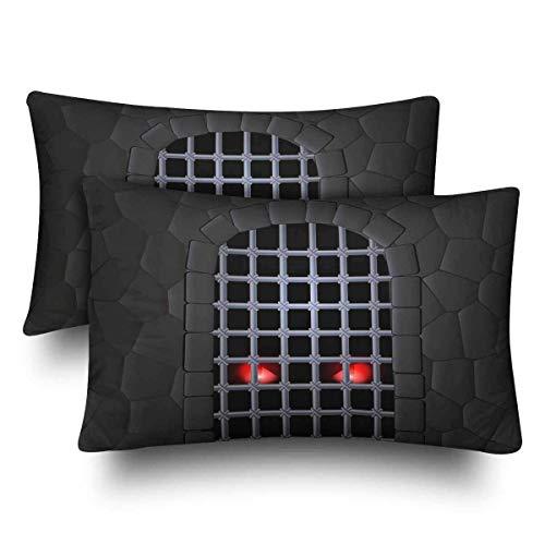 geckor Steinmauer Fenster Bogen Eisen Gitter rote Tieraugen Home Decor Geschenk rechteckige Indoor Baumwolle Kissenbezug nur eine 20 x 30 Zoll
