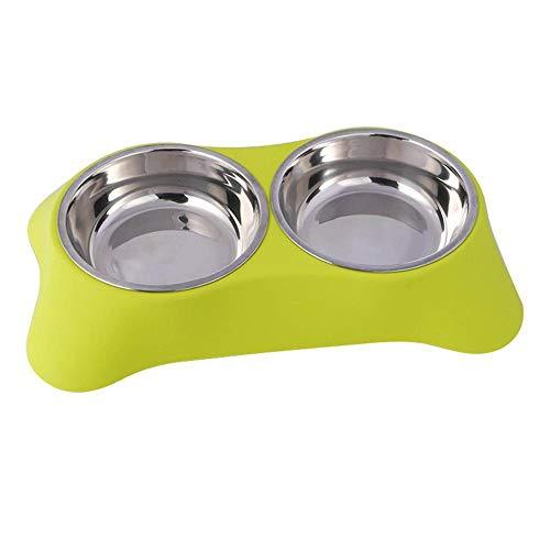 Hundenapf Double Dog Bowl Tierfütterungsstation Edelstahl Katzenhunde Futterautomat Welpen Wasser Futternäpfe Haustiere Fütterungsgeschirr Futterbehälter 28X16X5Cm 5