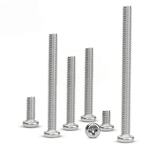 100 piezas 50 piezas M1 M1.2 M1.4 M1.6 M2 M2.5 M3 M4 DIN7985 GB818 304 tornillos de cabeza plana empotrados en cruz de acero inoxidable tornillos-M4 (20 piezas), 16 mm