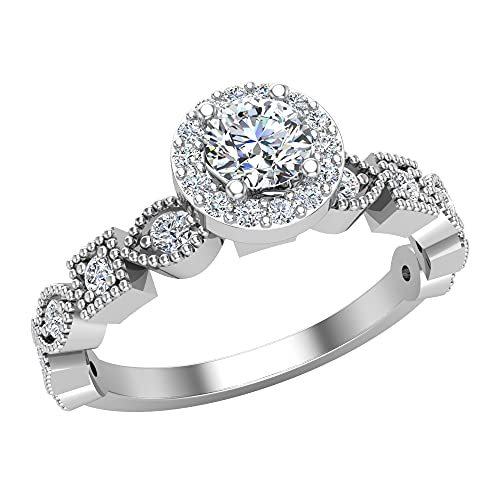 Anillos de compromiso redondos de diamantes de halo brillante para mujer, apilables, diseño cuadrado, oro blanco de 18 quilates de 0,50 quilates (G,VS1) (RS 75)