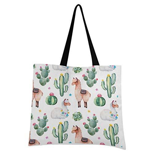 XIXIXIKO - Bolsa de lona para mujer, diseño de cactus tropicales, con diseño de llama, bolsa de mano, ligera, bolsa de hombro, resistente para mujeres, niñas, compras, gimnasio, playa, viajes diarios