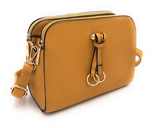ELIOX Borsa a Tracolla Donna Piccola con 3 Scomparti Capienti - Borsa Mano PU Pelle Sintetica - Borsetta Moda Borse Spalla- Crossbody Bag (Giallo)