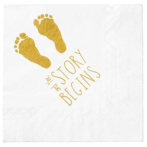 """Baby Shower Napkins -""""And The Story Begins"""" 100 Quality Napkins - Gender Reveal Gold Napkins - Boy and Girl Baby Shower Decorations Large 6.5 x 6.5 Inch Folded"""