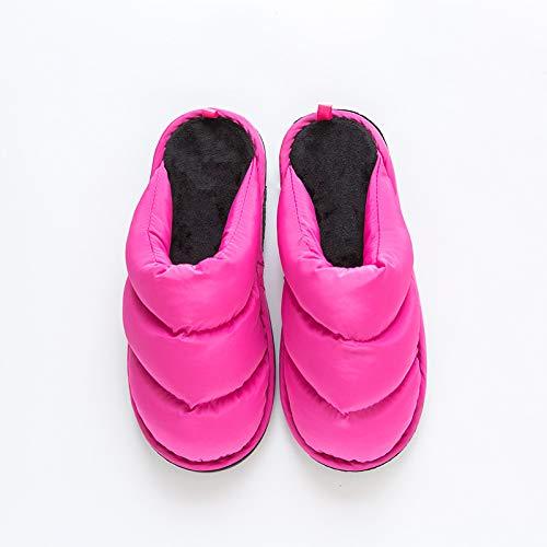 Qsy shoe Pantoufles de Coton Doux Bas vers Le Bas Couple de la Maison imperméable Dames Pantoufles de Coton, Rose Rouge, 42