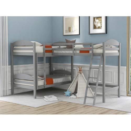 Twin Loft Bed for Kids, Wood Loft Bed L-Shaped Corner Bunk Bed Frame 3 Bed Bunk Loft Bed with Full Guardrails and Flat Ladder (Grey)