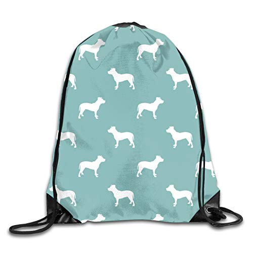 Nother Pitbull Silhouette Dog Dogs - Gulf Blue Cinch Bags Drawstring Backpack