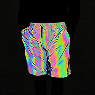 Summer Fashion Colorful Reflective Shorts Loose Fifth Pants For Men High Quality (Color : Black, Size : L)