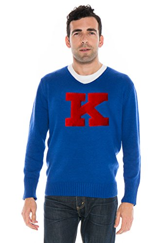 Alma Mater NCAA Kansas Jayhawks Men's V-Neck Sweater, XX-Large, Royal Blue