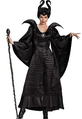 LCXYYY Erwachsener Damen Schwarze Hexe Witwe Kostüm Dunkle Fee-Damenkostüm Halloween Kostüm Maleficent Sexy Vampir Grässlich Teufel Karneval Verkleidung Lange Kleid+Horn Kostüm für Erwachsene M-3XL