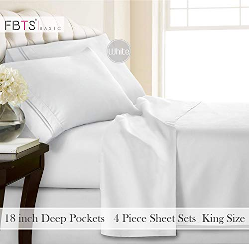 FBTS Basic Bettwäsche-Set, gebürstete Mikrofaser, 1800er-Serie, ägyptische Qualität, Bettwäsche-Set, 45,7 cm Tiefe Tasche, King-Size-Größe, weißes 4-teiliges Muster, hypoallergen