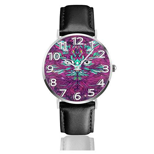 Reloj de Pulsera Purple Cat Art Durable PU Correa de Cuero Relojes de Negocios de Cuarzo Reloj de Pulsera Informal Unisex