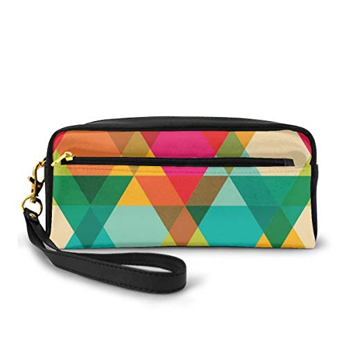 Pencil Case Pen Bag Pouch Stationary,Abstract Geometric Pattern Vintage Inspired Retro Colors Old Style Graphic Art Deco Print,Small Makeup Bag Coin Purse