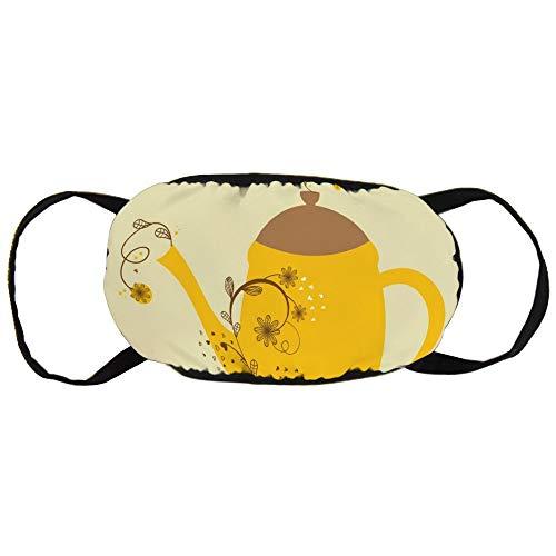 Stofvervuilingsmasker, schattige vintage kaart met theepot en bloementak, zwart oor puur katoen masker, geschikt voor mannen en vrouwen maskers