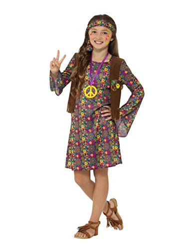 Smiffys Girl Costume, with Dress Disfraz de niña Hippie Vestido, Multicolor, L-Age 10-12 Years (49738L)