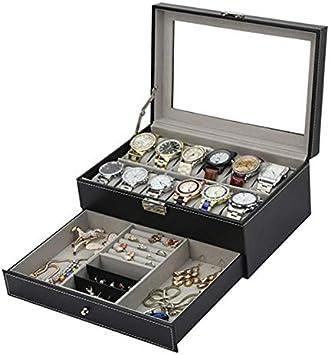 Tebery 12 ranuras negro reloj caja PU cuero caso organizador con cajón de joyería para almacenamiento y exhibición