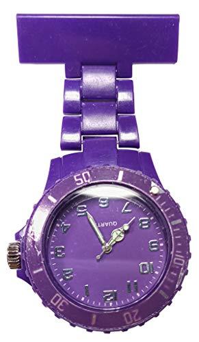 Ellemka – Reloj de pulsera analógico unisex para hombre y mujer, mecanismo de cuarzo, NS-2102, correa de plástico ABS, monocolor, dúplex, color violeta