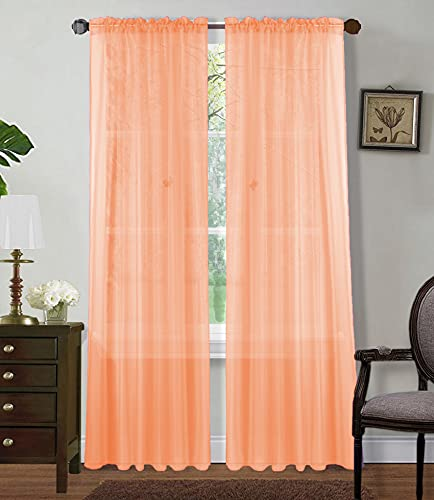 """Sapphire Home 2 Panels Window Sheer Curtains 54"""" x 63"""" Inches (108"""" Total Width), Voile Panels for Bedroom Living Room, Rod Pocket, Decorative Curtains, Solid Sheer Curtains Sheer 63"""" Peach"""