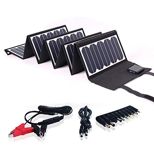 SUNKINGDOM - Batería de Panel Solar Plegable y portátil Pet de 60 W, con Doble Salida (CC5521 18 V y USB 5 V) para Camping