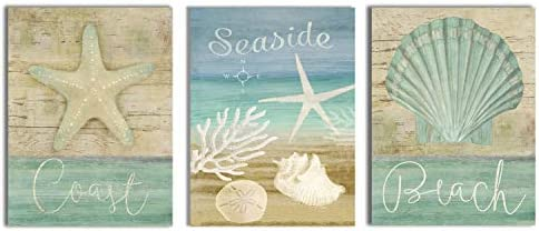 Yang Hong Yu Wall Art for Bathroom Ocean Decoration Beach Shell Starfish Nature Picture Canvas product image