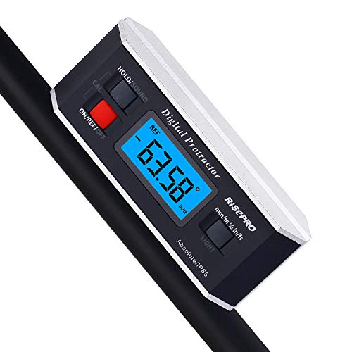 Inclinometer, RISEPRO Digital Protractor Angle Finder Level Inclinometer Magnetic V-Groove 0~360 degree with Backlight 82413B