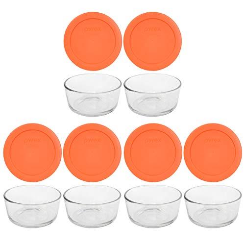 Pyrex (6) 7200 2 Cup Glass Dishes & (6) Pyrex 7200-PC 2 Cup Orange Lids