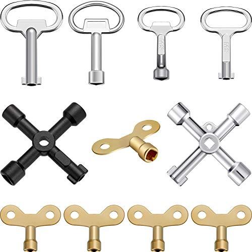 Multifunktionale Utility Key Kit Klempner Tool Key 4 Möglichkeiten Utility Key Dreieck Cabinet Spanner Schlüssel Steckschlüssel für Heizkörper Gas Stromzähler Boxen Wasserhahn und Schloss