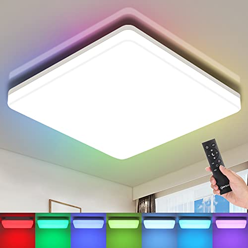 Oeegoo RGB LED Flush Mount Ceiling Light Fixture with Remote, 8.66in 18W 3000K-6500K, Dimmable Square Close To Ceiling Light Fixtures, Modern Ceiling Light for Bedroom, Kids Room, Kitchen, Dining Room