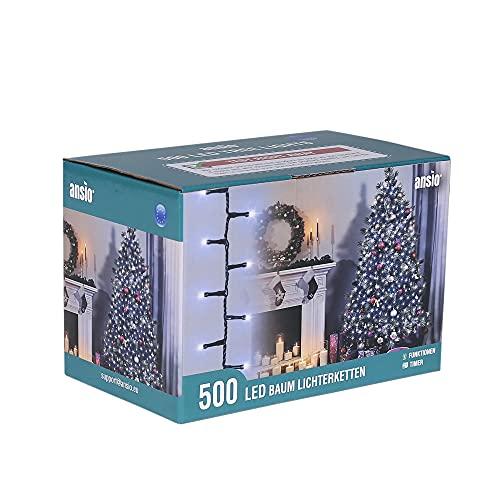 ANSIO Luci Natale Esterno 12.5m 500 LED Luci Albero di Natale Natalizie Luminose Bianco Fredda Luci Natalizie da Esterno/Interno Ideale per Mantello, Balcone Lucine Luminoso