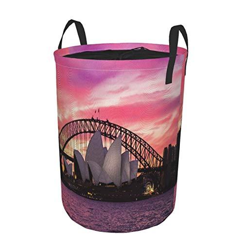 Zusammenklappbar Groß Wäschekorb für den Haushalt,Australien Sydney Opernhaus City Harbour Bridge Morgenlicht Sonnenuntergang Blick,Lagerplatz Wasserdicht mit Kordelzug,14