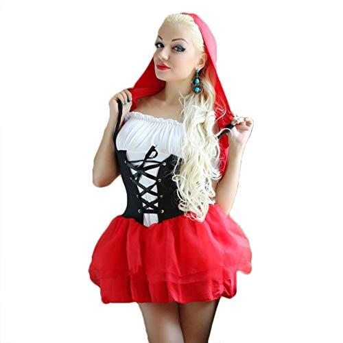 JasmyGirls Disfraz sexy de caperucita roja para mujer, disfraz de Halloween, anime gótico, cosplay, lencería, libro de cuentos, vestido de princesa