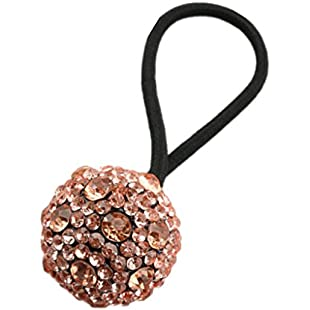 Prettyia Fashion Crystal Women Elastic Hair Ties Rope Ring Ponytail Holder Scrunchy - Champagne, as described