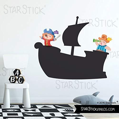 Vinilo pizarra - Barco con animales pirata - T3 - Grande