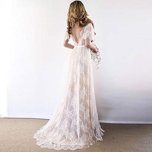 LSZHGL Brautkleider Fashion Lace Open Back Halbarm Brautkleid Tüll Spitze Appliques Elegantes Romantisches Brautkleid