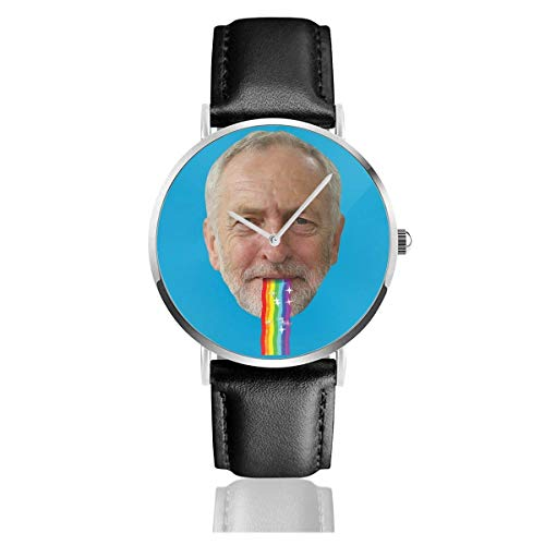 Unisex Business Casual Jeremy Corbyn Kotzen Regenbogen Snapchat Filter Uhren Quarz Lederuhr