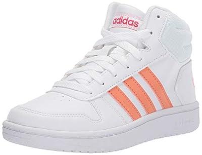 adidas Unisex-Kid's Hoops Mid 2.0 Sneaker, White/semi Coral/Real Pink, 5 M US Big Kid
