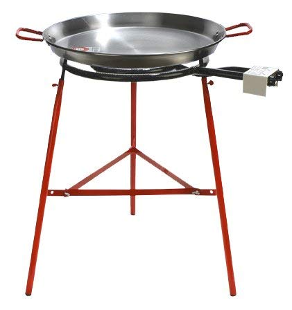 Garcima Mirador Paella Pan Set with Burner, 24 Inch Carbon Steel Outdoor Pan and Reinforced Legs Imported from Spain (18 Servings)