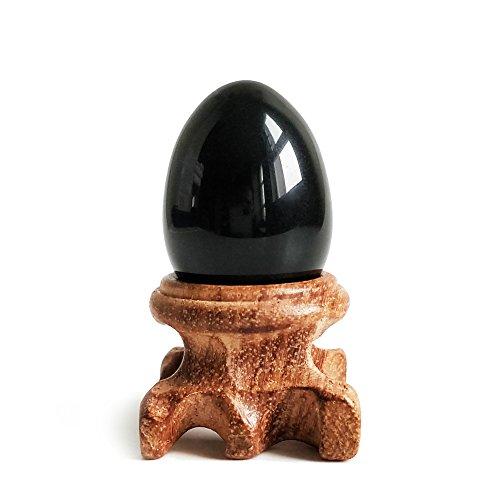 Negro Obsidiana huevo de Gemstone Sphere con soporte de madera para equilibrio de curación Chakra de meditación y decoración del hogar