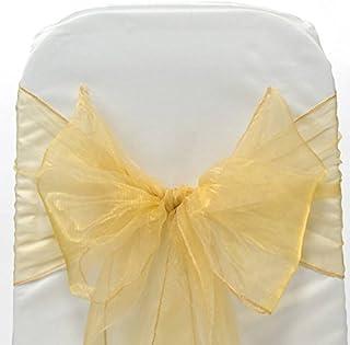 EnF Organza-Stuhl-Schärpe Bögen für Hochzeit, Party, Veranstaltungen, Weihnachten, Bankett-Dekoration in 17cm X 275cm Größe - 50 | Gold