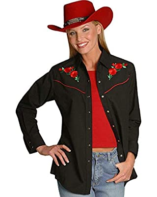 ELY CATTLEMAN Women's Long Sleeve Western Shirt with Red Rose Embroidery, Black, XL