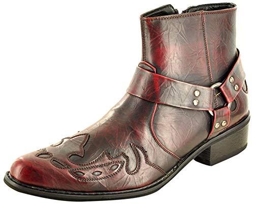 My Perfect Pair Herren Western Cowboy Stiefeletten mit spitzem Zehenbereich, durchgehender Reißverschluss, Rot - Oxblood - Größe: 42 2/3 EU