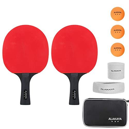 Tischtennis Set - 2 Tischtennisschläger, 3 Tischtennis-Bälle, Ideal fürAnfänger, Familien und Profis, 5-Teilig Ideal für Anfänger, Familien und Profis (6 Star)