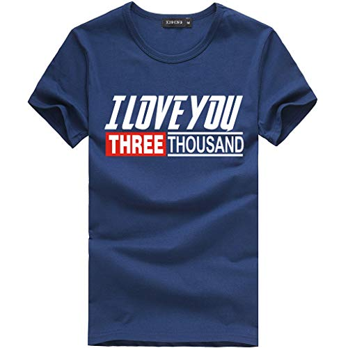 Xmiral I Love You 3000 Maglietta da Uomo Estate Manica Corta T-Shirt Stampata Camicia a Manica Corta da Uomo a Maniche Nuova Tendenza Moda Giubbotto Fitness L Marina Militare