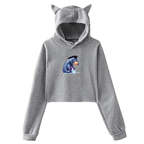 Acmiran Eeyore Women's Cat Ear Hoodie Short Sweatshirt Crop Top Gray