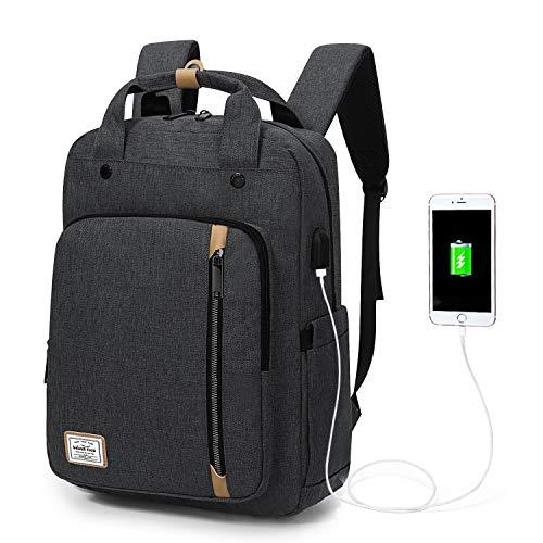 Wind Took USB Anschluss Laptop Rucksack Damen Daypack Schulrucksack für 15 Zoll Notebook, Wasserabweisend, Grau