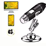 USB Digital Microscope Camera- Portable Magnification Endoscope 50X to 1600X - 8 LED Mini Handheld Microscope with Metal Stand for Adults Kids Children Phone Compatible with Windows 7/8/10 Android