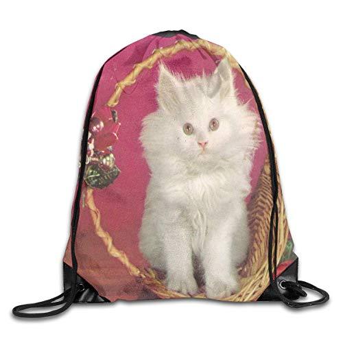 WENZXC Drawstring Bag Merry Christmas Ornament White Kitten Rucksack For Travel
